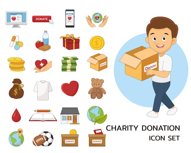 Icone piane di concetto di beneficenza e donazione.
