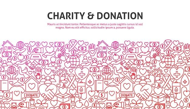 Concetto di beneficenza e donazione. illustrazione vettoriale di linea website design. modello di bandiera.