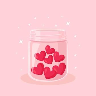Beneficenza, donazione, volontariato e comunità sociale generosa. cuori rossi in un barattolo di vetro. dai e condividi il tuo amore, speranza, sostegno alle persone