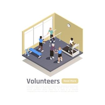 Illustrazione isometrica di volontariato di donazione di beneficenza con paesaggi interni e persone che fanno esercizi fisici con l'assistenza di volontari