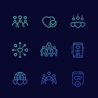 Beneficenza, icone lineari di vettore di donazioni