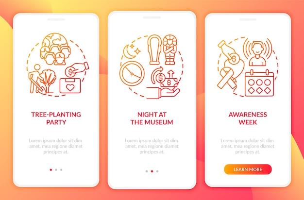 Eventi di beneficenza per la raccolta di fondi nella schermata della pagina dell'app mobile