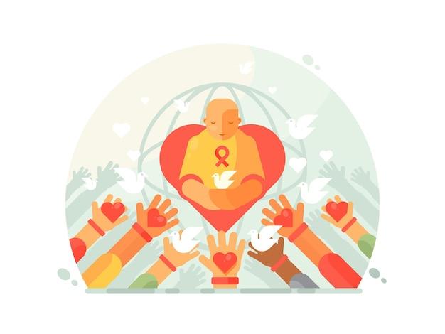 Carità e aiuto. dona amore e pace, mano con cuore. illustrazione