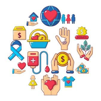Insieme dell'icona di carità, stile cartoon