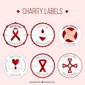 Etichette carità di donatore di sangue