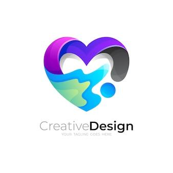Vettore del logo di beneficenza, logo del cuore con la comunità del design sociale
