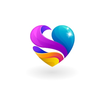 Logo di beneficenza con comunità di social design, icone del cuore
