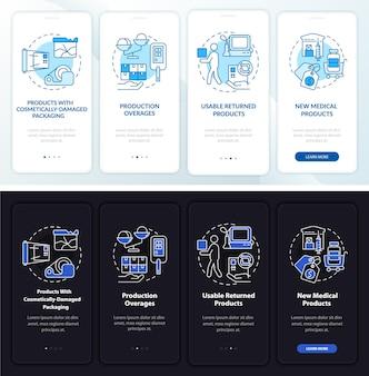 Schermata della pagina dell'app mobile a bordo dei prodotti medici di beneficenza.