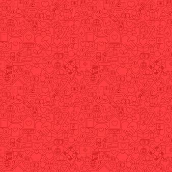 Modello senza cuciture di carità linea rossa. illustrazione vettoriale di sfondo piastrellabile di contorno.