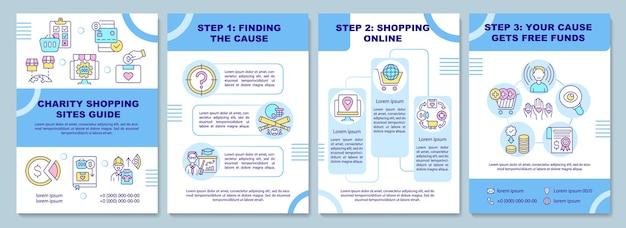 Modello di brochure della guida dei siti di shopping di beneficenza. causa di raccolta.