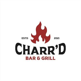 Etichette charrd bar and grill dallo stile vintage