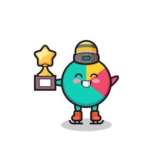 Il cartone animato grafico come un giocatore di pattinaggio sul ghiaccio tiene il trofeo del vincitore, un design in stile carino per maglietta, adesivo, elemento logo