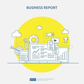 Concetto di rapporto dati documento grafico per statistiche aziendali, analisi degli investimenti, ricerca di pianificazione e contabilità di audit finanziario con foglio di carta, mani, lente d'ingrandimento, scartoffie, grafici, elemento grafico