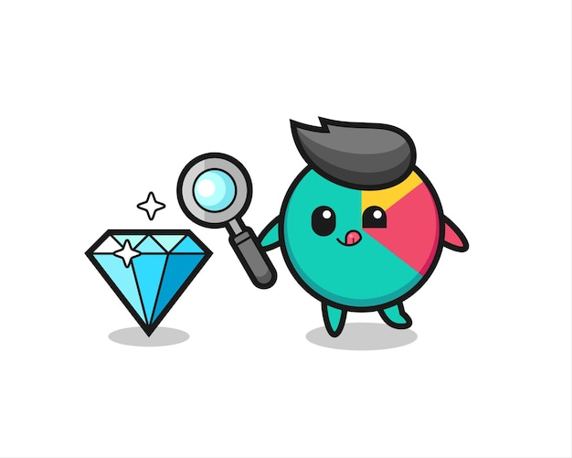 La mascotte del grafico sta verificando l'autenticità di un diamante, un design in stile carino per maglietta, adesivo, elemento logo