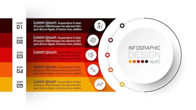 Grafico o cerchio dell'organizzatore, che mostra i risultati in ordine, spiegando il processo. progettazione infografica.