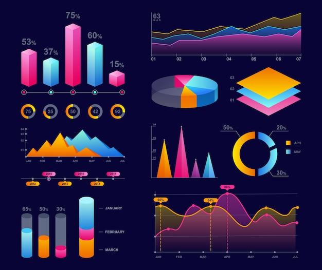 Grafici, diagrammi e illustrazioni grafici. marketing aziendale, statistiche, analisi dei dati.