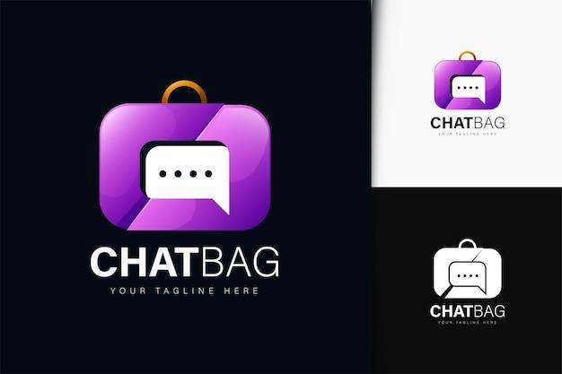 Design del logo della borsa da chat con sfumatura