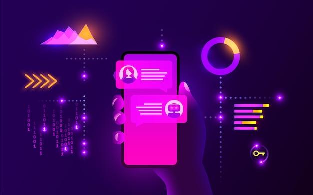 La mano del concetto di chat bot tiene lo smartphone e comunica con uno stile futuristico al neon di chat bot