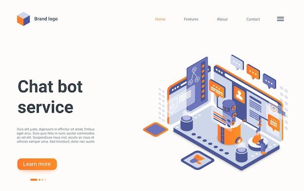 Pagina di destinazione isometrica di chat bot d servizio online per comunicare con i clienti