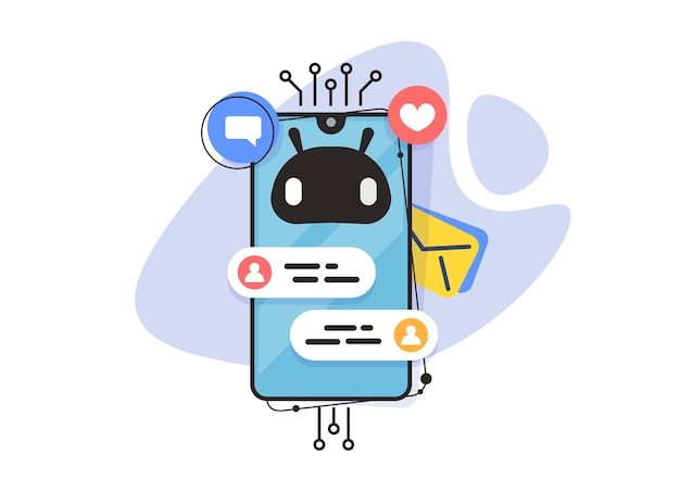 Chat bot, applicazione online, messenger per smartphone. assistente in linea. chatbot di servizio.
