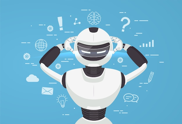 Chat bot, robot assistenza virtuale. concetto di intelligenza artificiale online.