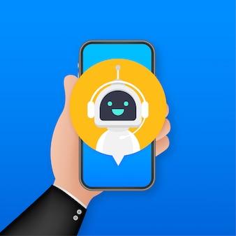 Chat bot tramite smartphone, robot assistenza virtuale del sito o applicazioni mobili. bot del servizio di supporto vocale. bot di supporto online. illustrazione.