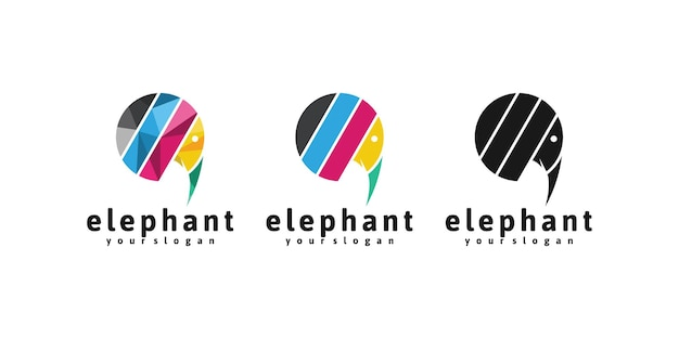 Logo della bolla di chat con il concetto di elefante Vettore Premium
