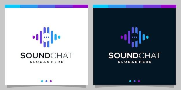 Logo della bolla di chat con elementi del concetto di logo dell'onda sonora audio. vettore premium