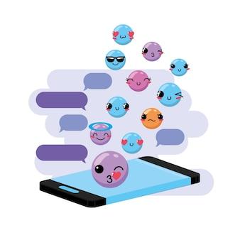 Messaggio di bubble bubble con emoji kawaii