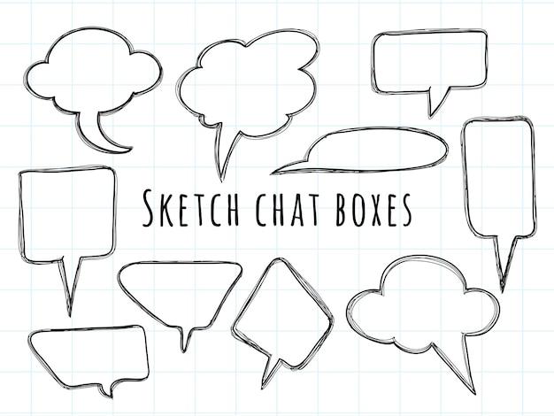 Raccolta di disegni schizzo bolla chat