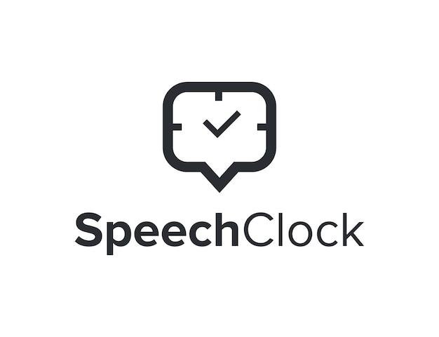 Chat bolla discorso e orologio semplice elegante design geometrico creativo moderno logo