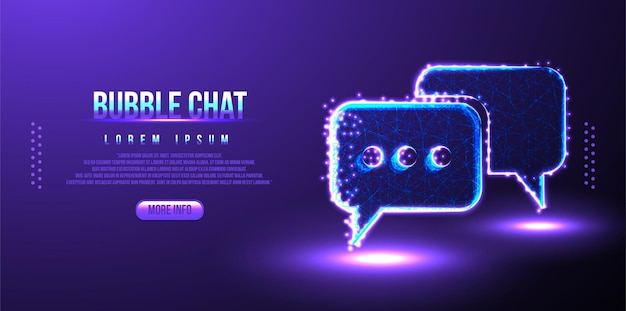 Chat, bolle, testo, messaggi design mesh wireframe low poly
