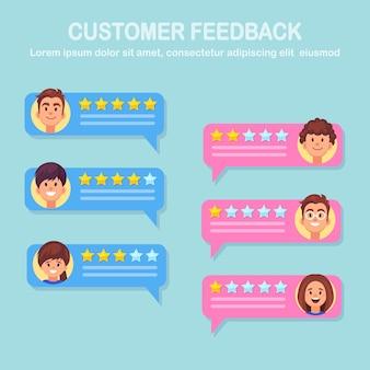Concetto di commento in chat. opinione del cliente. rivedi i discorsi della bolla di valutazione con le stelle