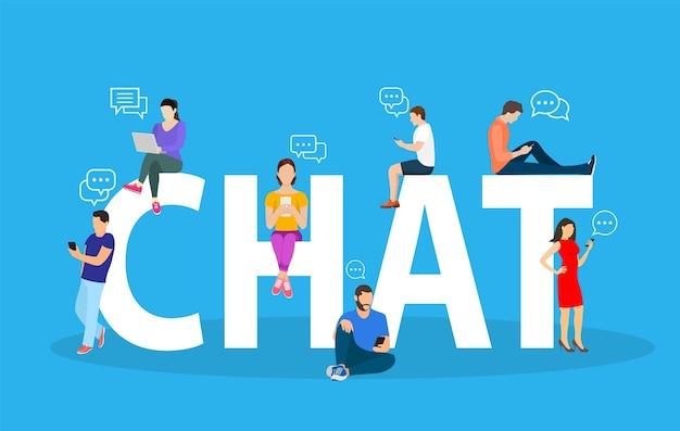 Concetto di chat persone che utilizzano il cellulare
