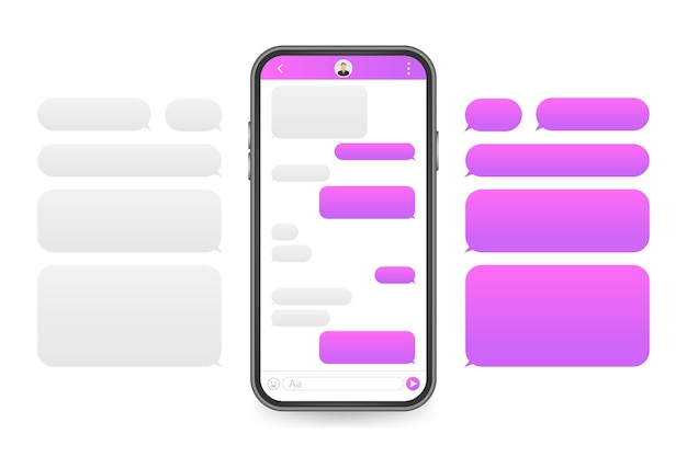Applicazione interfaccia chat con finestra di dialogo. clean mobile ui design concept. sms messenger.