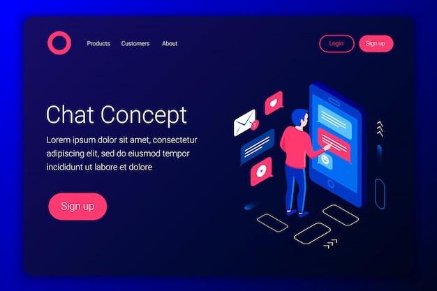 Chat concetto isometrico. uomo in chat dallo smartphone. stile 3d piatto. modello di pagina di destinazione. illustrazione. illustrazione.
