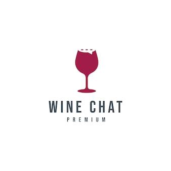 Modello di logo di chat con bicchiere di vino