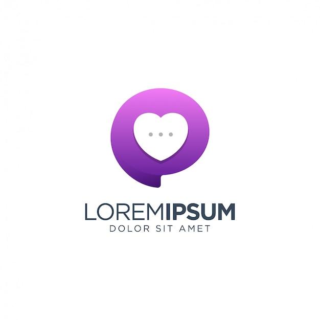 Chat love logo Vettore Premium