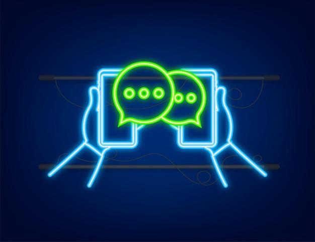 Messaggio di chat bolle sullo schermo dello smartphone icona al neon messaggi sui social network