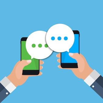 Chattare bolle sullo schermo dello smartphone, concetto di social networ. illustrazione