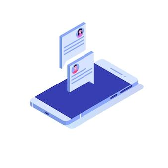 Notifica di messaggi di chat sul concetto isometrico del telefono