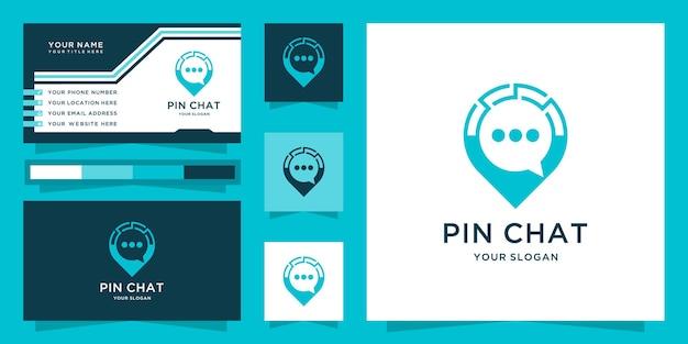 Pin di chat o design del logo della chat di posizione