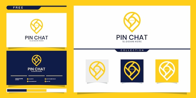 Modello di progettazione di vettore di logo di luogo di chat con mappa pin e bolla di chat e biglietto da visita