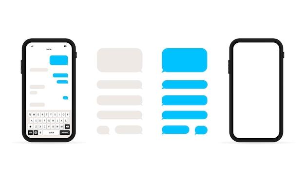 Chiacchierare. invia messaggio. conversazione. bolle di modello di sms in chat.