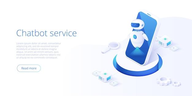 Chatbot o concetto di rete di intelligenza artificiale in illustrazione isometrica