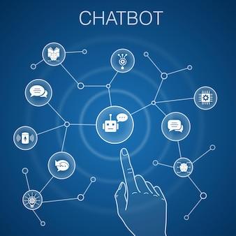 Concetto di chatbot, sfondo blu. assistente vocale, risponditore automatico, chat, icone della tecnologia