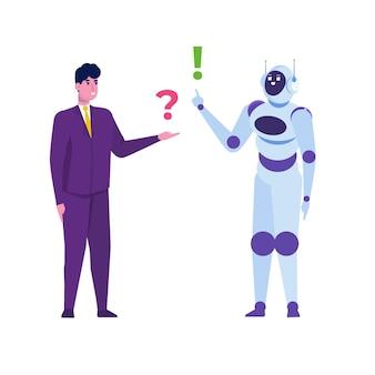 Concetto di chatbot. uomo che parla al robot. servizio di assistenza clienti android, dialogo di intelligenza artificiale.