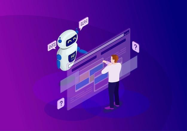 Illustrazione di colore isometrica di chatbot