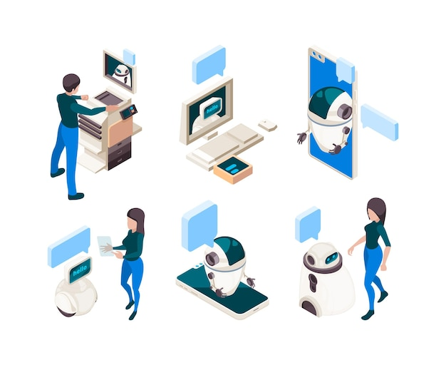 Chatbot isometrica. conversazione di persone con connessione umana macchina intelligente con concetto di dialogo testa di computer di pensiero. illustrazione dell'intelligenza ai, supporto in chat