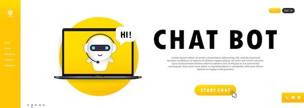 Chatbot nel banner del laptop. modello di pagina di destinazione del bot dell'assistente online. dialogo, messaggio. supporto tecnico. per la pagina web.
